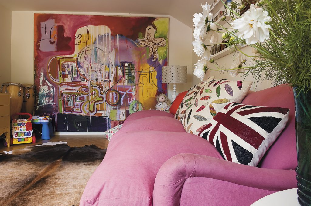 The large painting was in the family's loft-style apartment in London