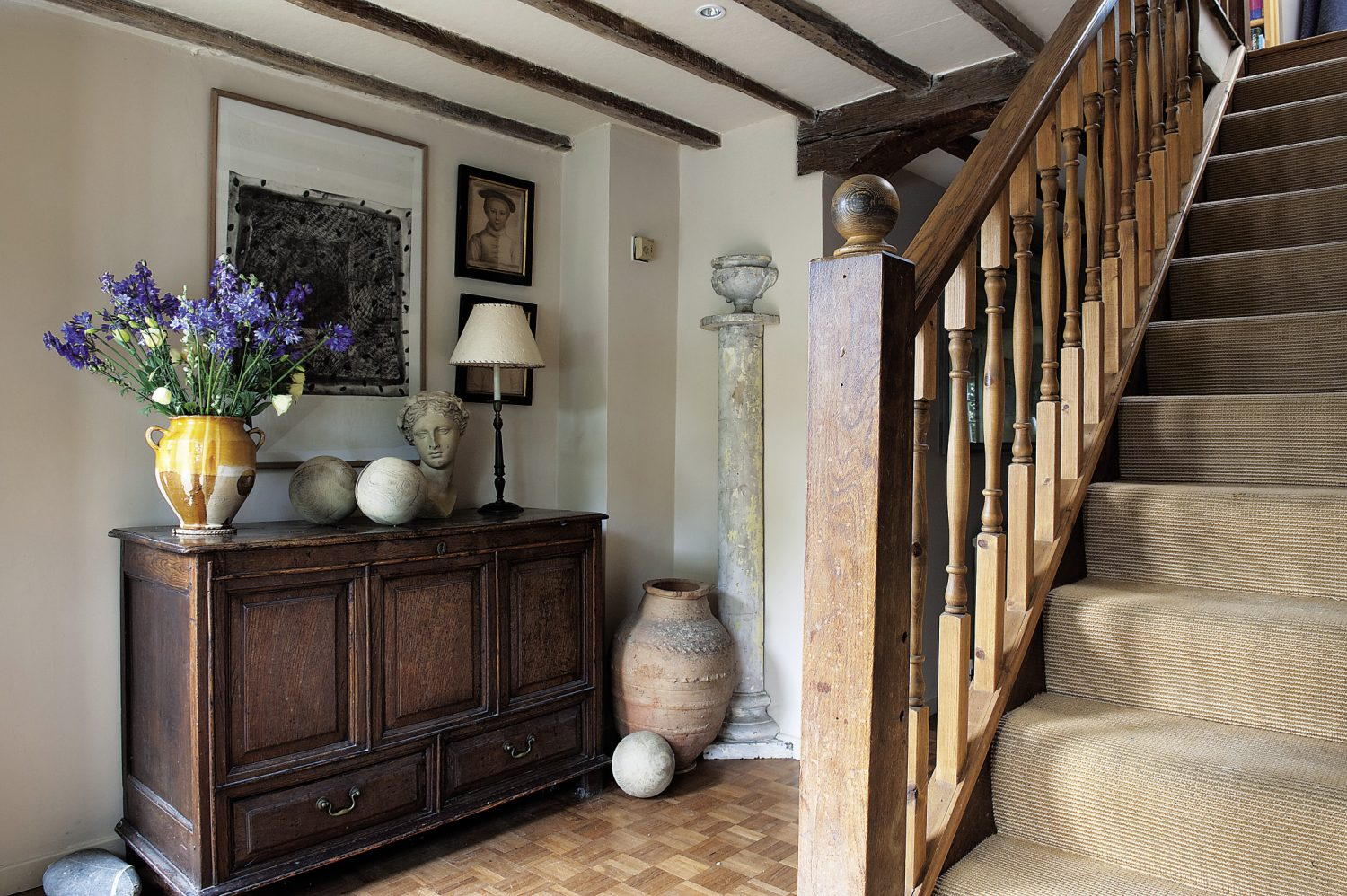 """When Veronica bought the property, the hall and drawing room floors had been relaid in modern parquet. """"I kept it in the hallway but it was too much in the drawing room so I covered it with seagrass."""""""