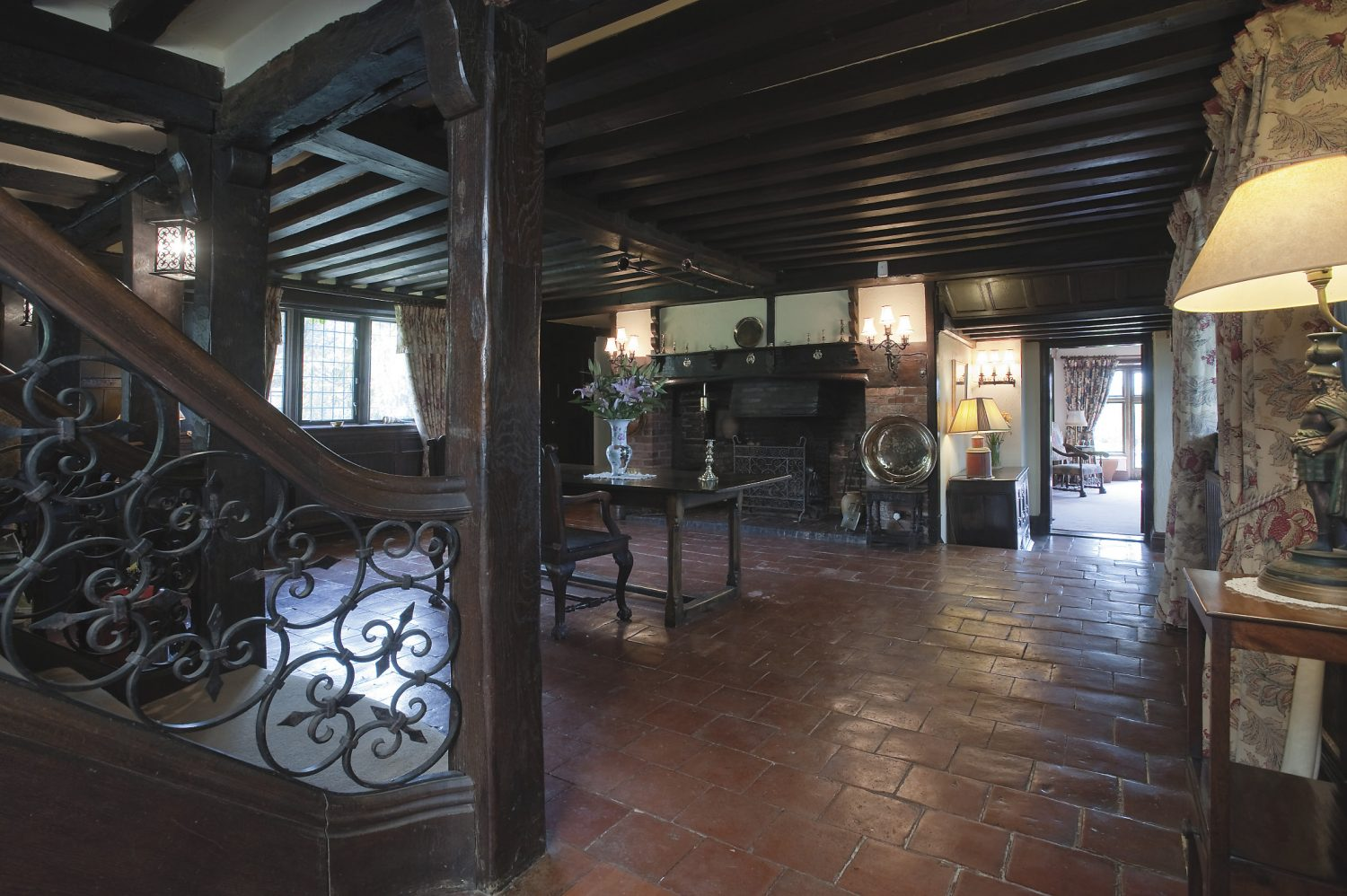 the central reception at the Tudor core of the house