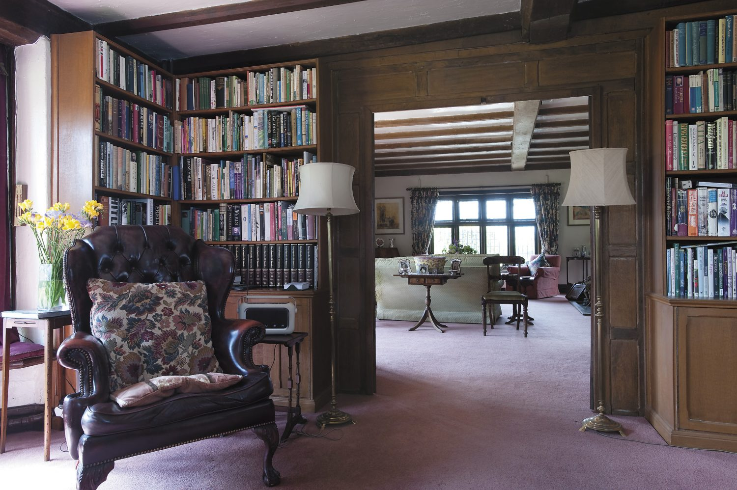 the view into the drawing room from the library