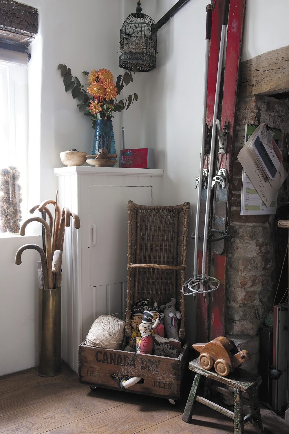 Every nook and cranny is filled with vintage finds and curios. The 'Snatie' snakes that are wound around the beams in the former bread oven are made from reclaimed ties, and are available to buy from Claire's website