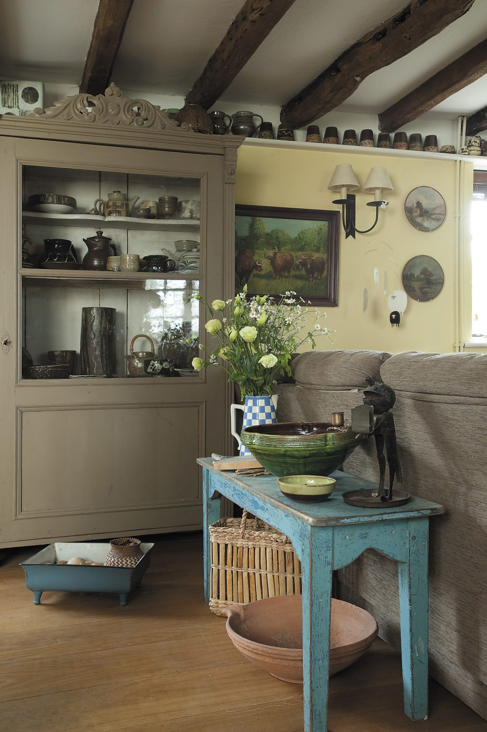 The side table and cupboard were both from Woodpigeon