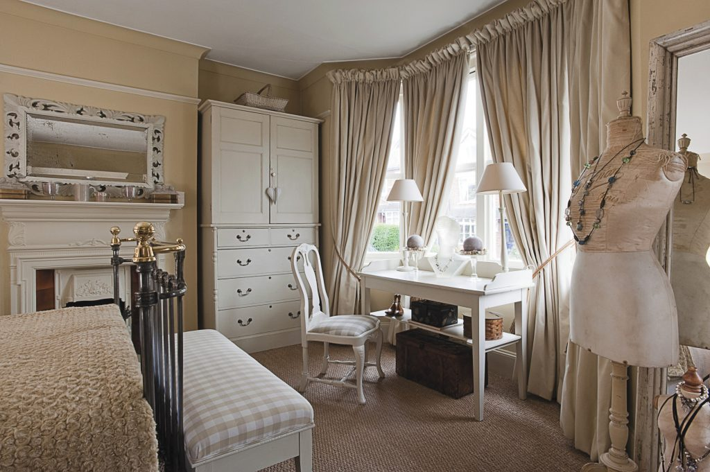 the main bedroom has been painted in Farrow & Ball's 'Cream'