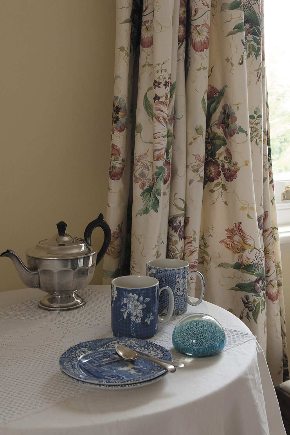 silver teapots and fine bone china are just some of the luxuries enjoyed by guests in the tulip bedroom