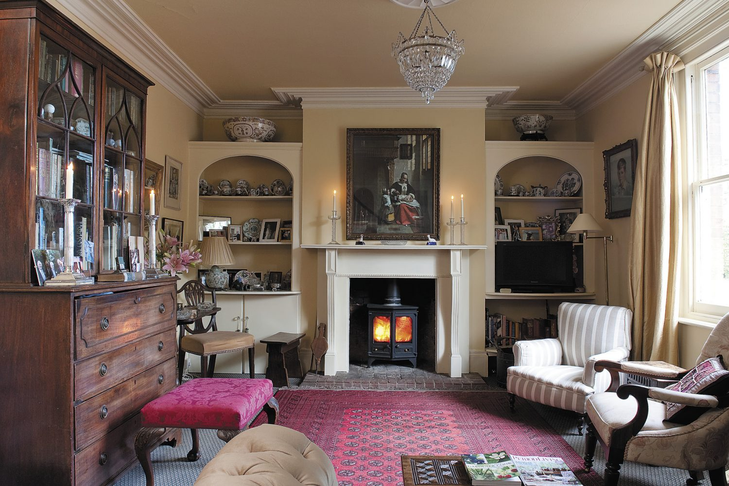 the formal drawing room is used by B&B guests and is the Victorian addition to the house and reflects the eclectic tastes of the Brogdens who often find gems at the Granary Salerooms in Battle