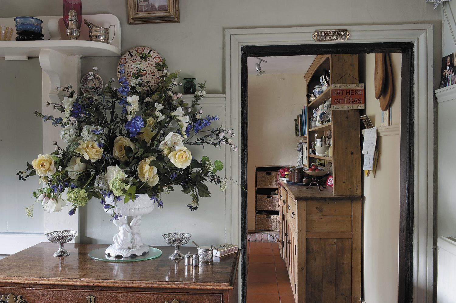 leading off from the dining room is the kitchen where Fanny prepares home-baked delights