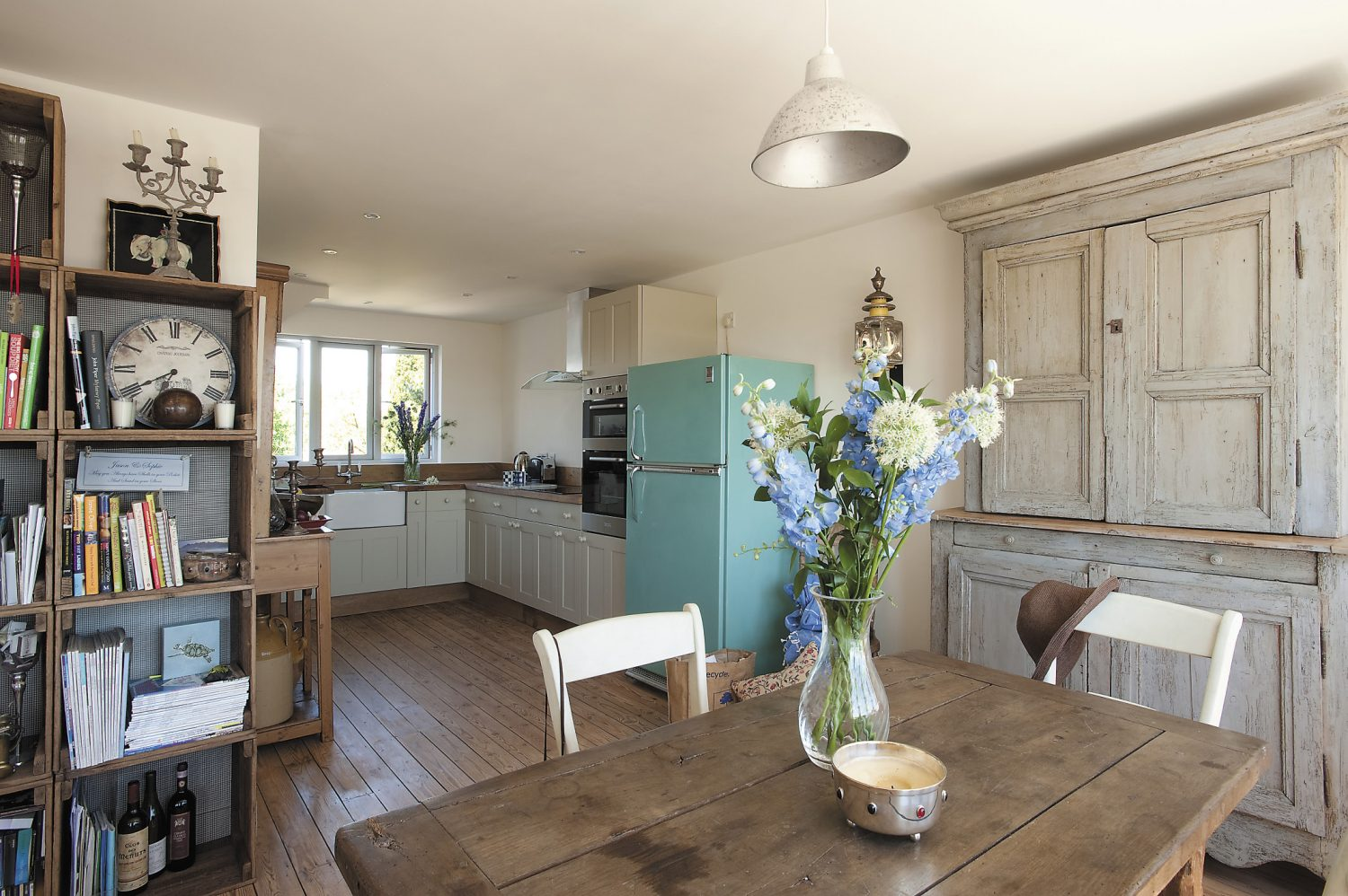 The kitchen units were built by Patrick Osborne and Sons and painted Farrow & Ball's Old White
