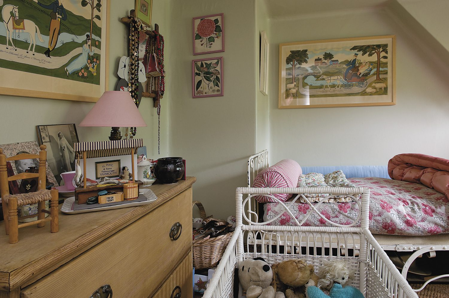 this attic room is used as a nursery by visiting grandchildren