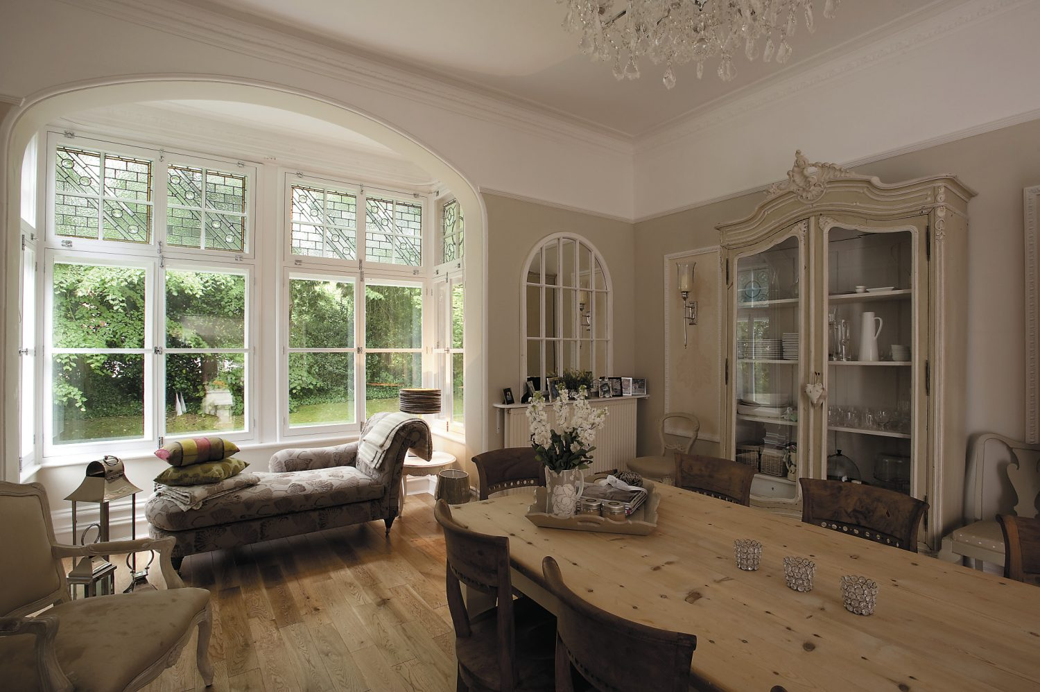 The unusual dining chairs are from Blooms in Southborough