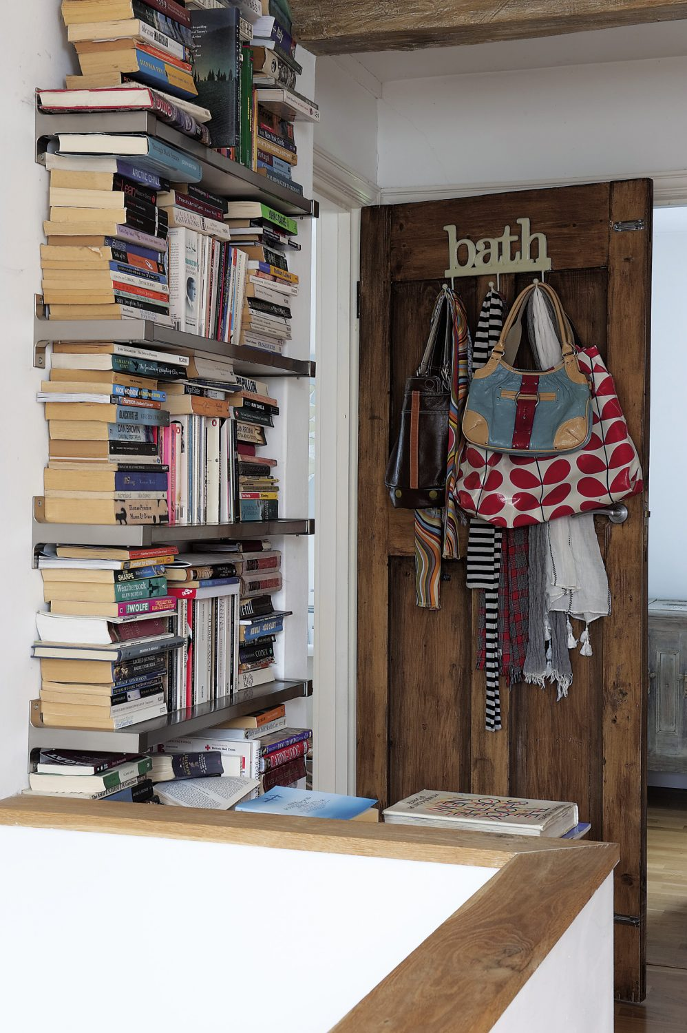 An eclectic mix of books has found its home on the landing