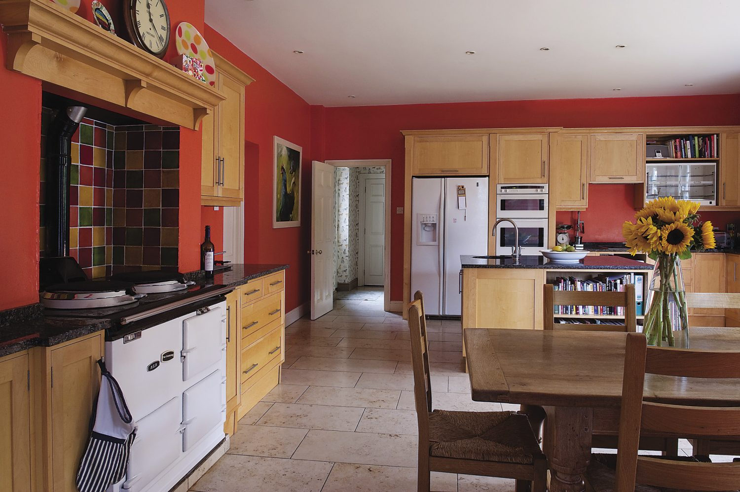 The substantial kitchen, complete with Belling warm cupboard (above, to the far right of the image), the number one item on Sophie and Nick's wedding list