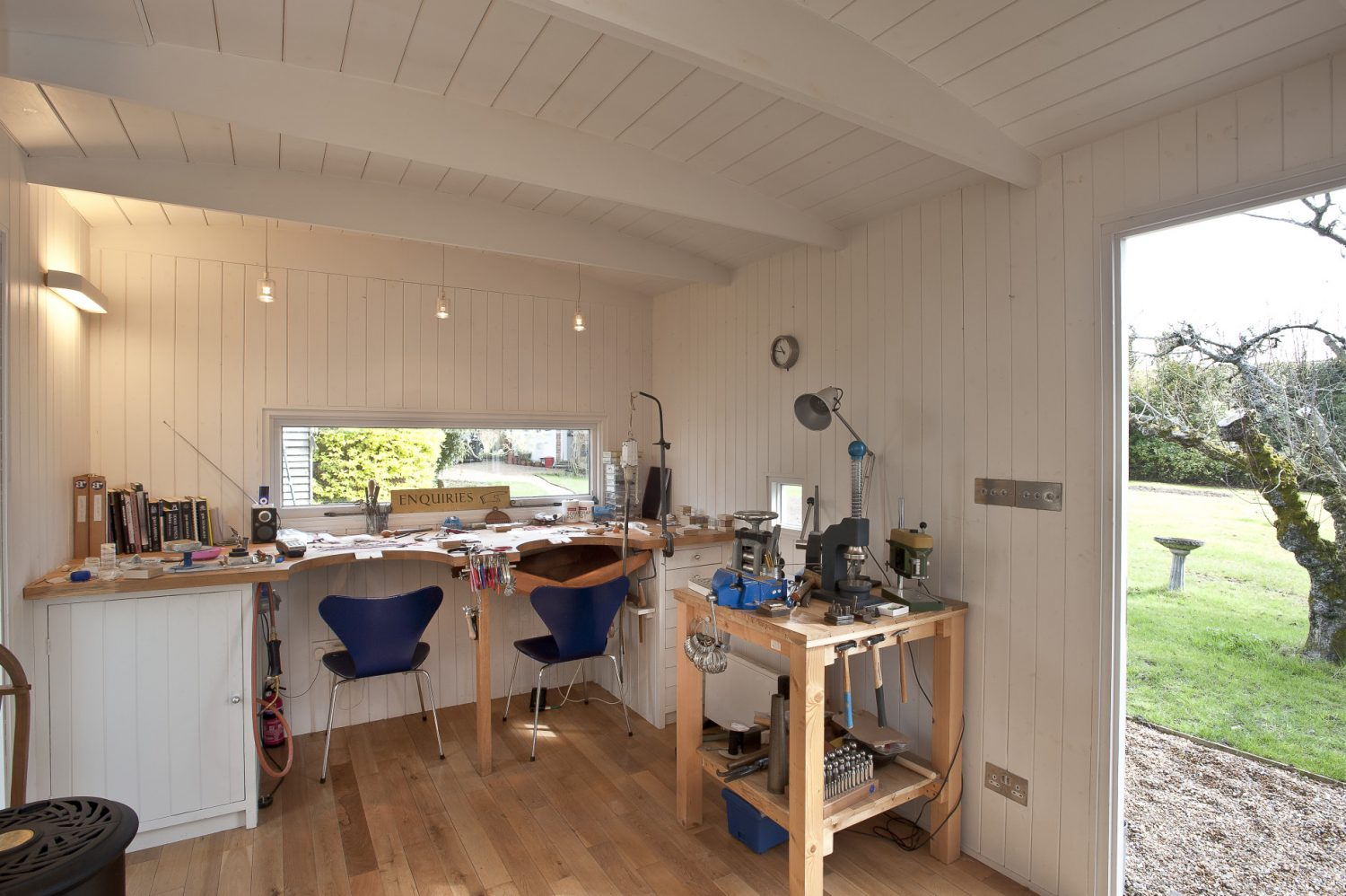 Her studio in the garden, designed by James, is based on an old shepherd's hut
