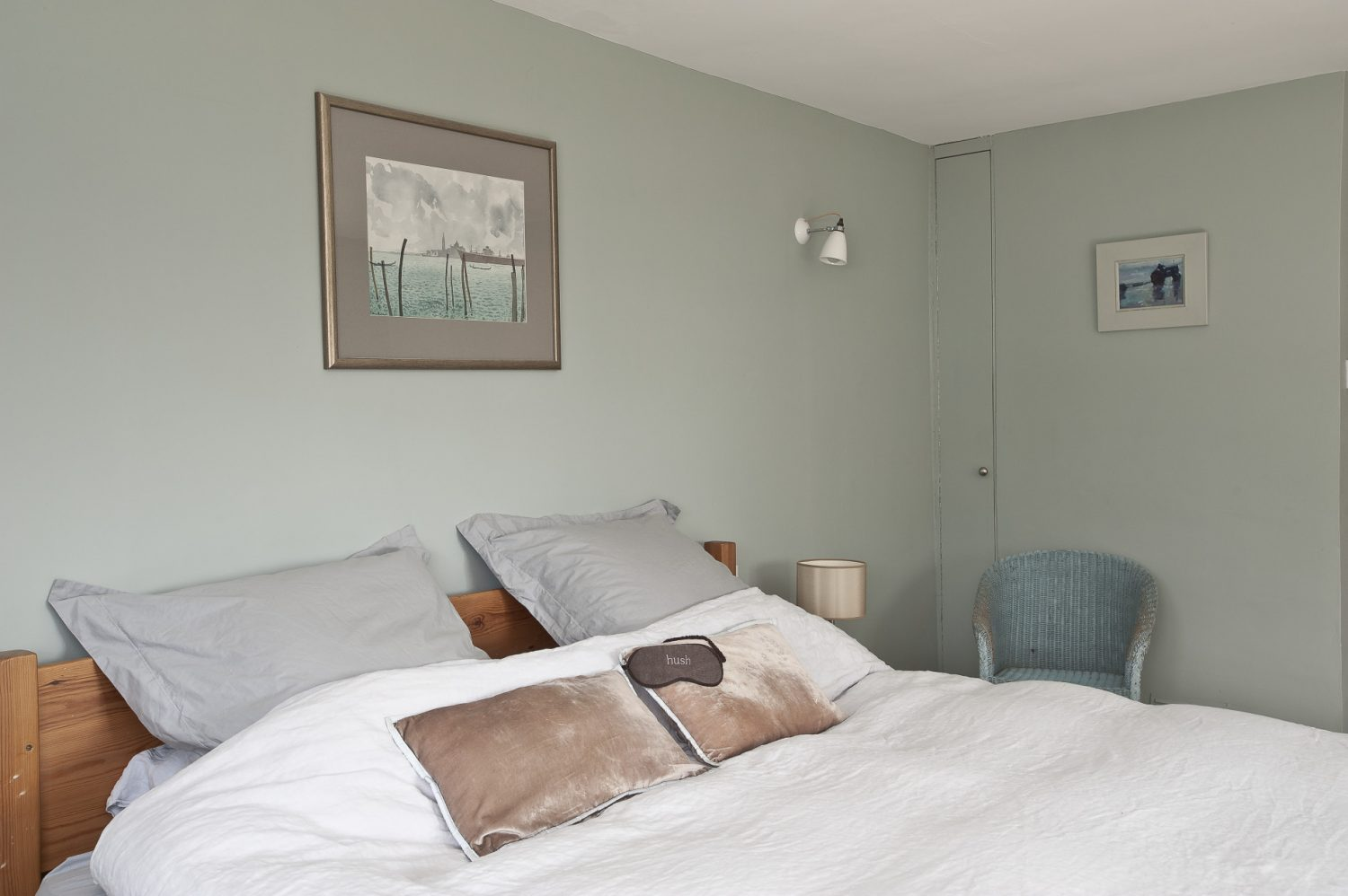 In the master bedroom the pride of place over the bed is given to a lovely sketch of Venice by artist and former Conservative MP Brian Batsford which Alice bought at auction for £25