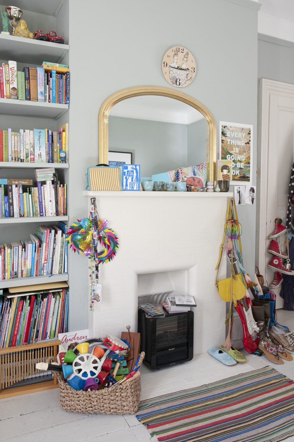 Their elder daughter's colourful room shows evidence of her love of music