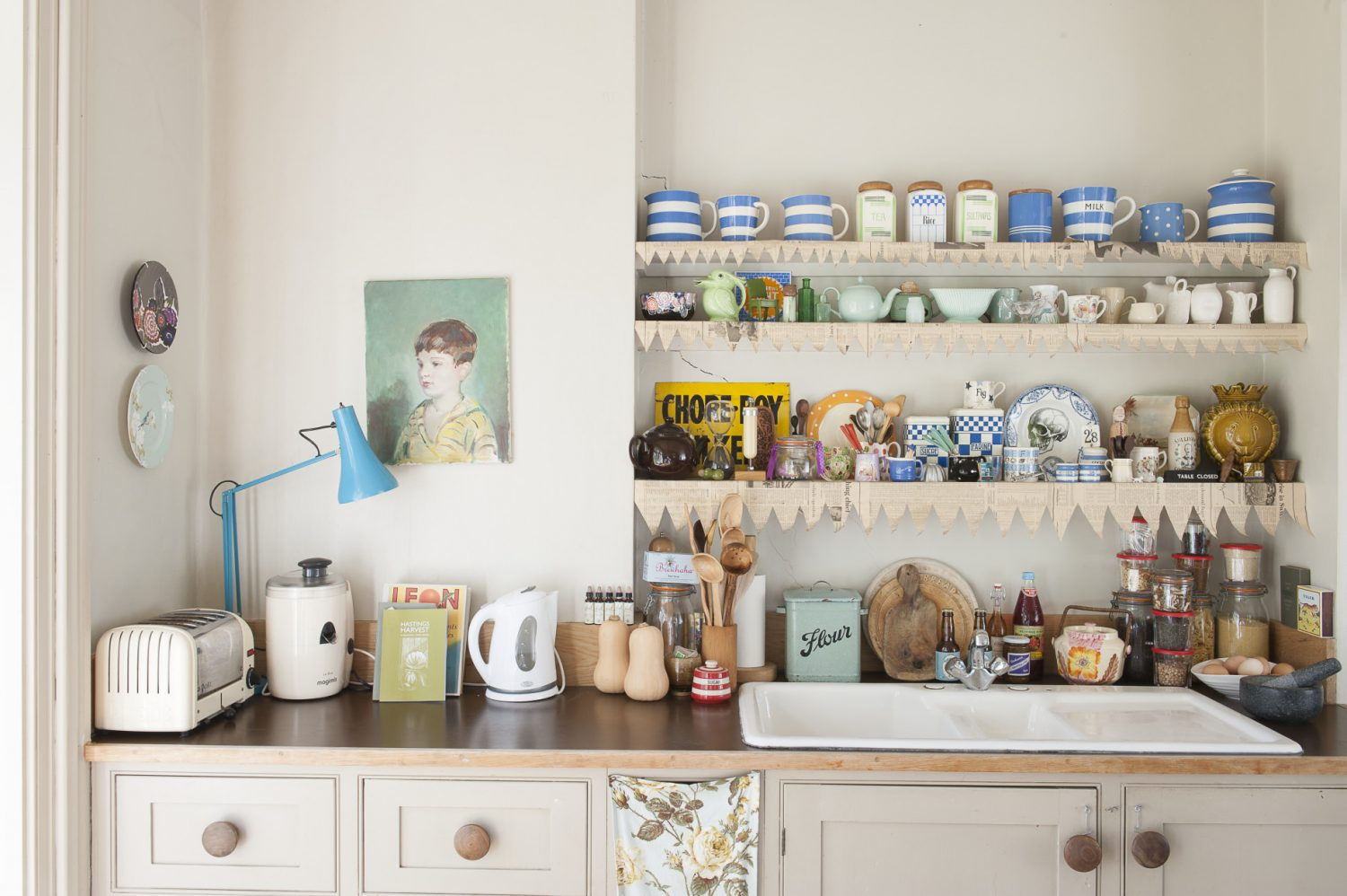 """""""I've been toying with the idea of putting in a fitted kitchen here, but I like to be able to move things around."""