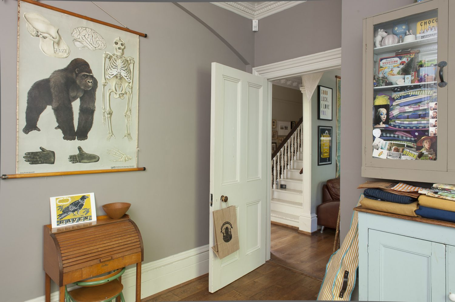 Just off the entrance hall, the study provides a peaceful space for Sarah to work in