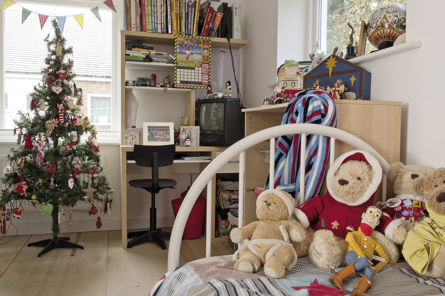 Kitty's children's room is just as colourful as you might expect, and of course, has its own Christmas tree