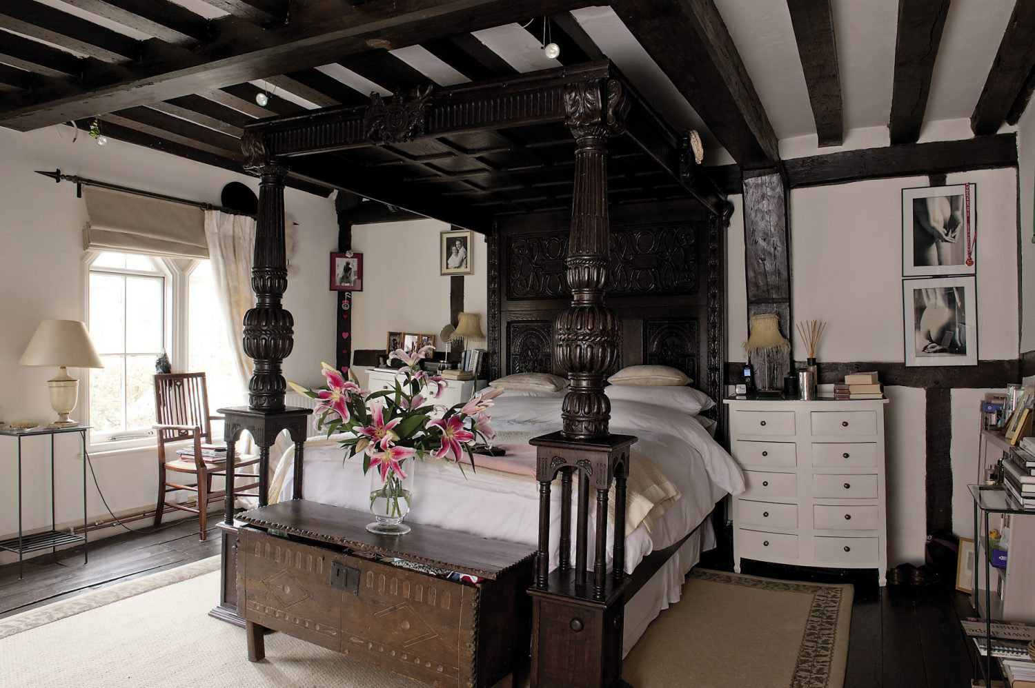 The centrepiece of the master bedroom cannot but impress – a huge Jacobean-style four-poster so heavy that it would have had any modern floor throwing in the towel some time ago