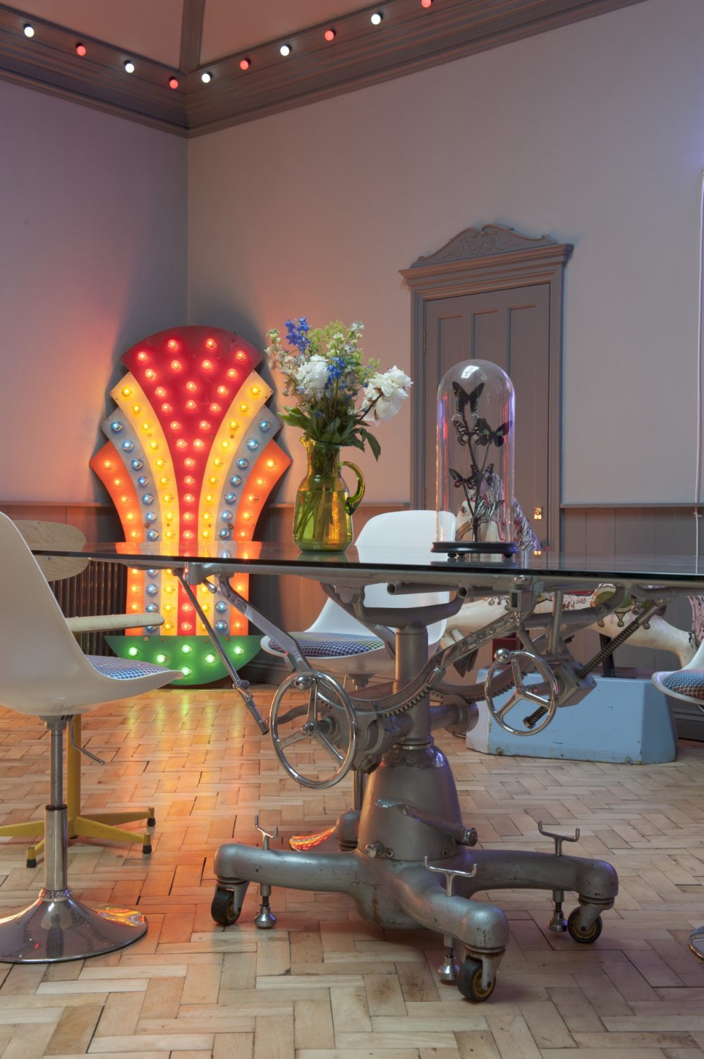 Philip, a former director of the Blackpool Festival, sourced the 30-year-old, seven-foot high, 150-lamp road feature, which stands in one corner of the room, from Blackpool Illuminations