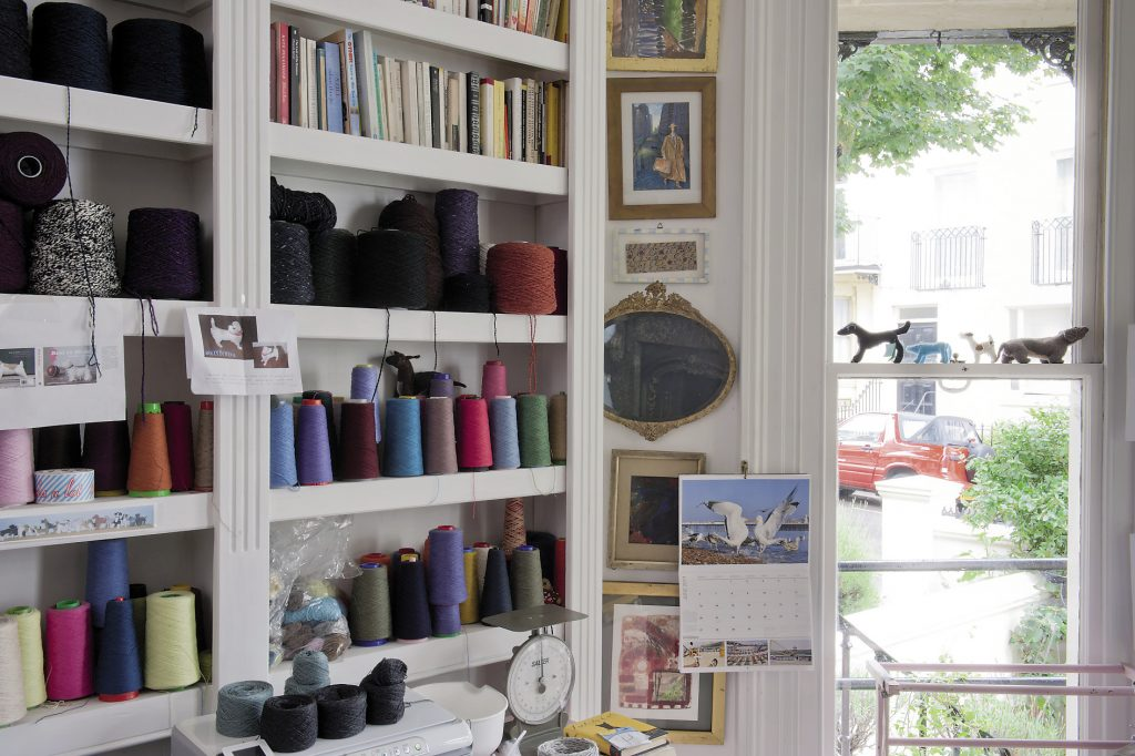 Joanna's workroom is at the front of the house and the bow window allows plenty of natural light