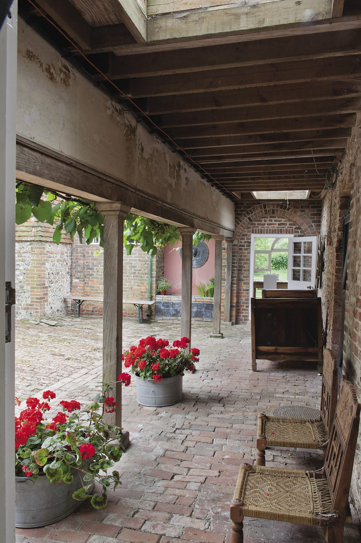 The spacious courtyard