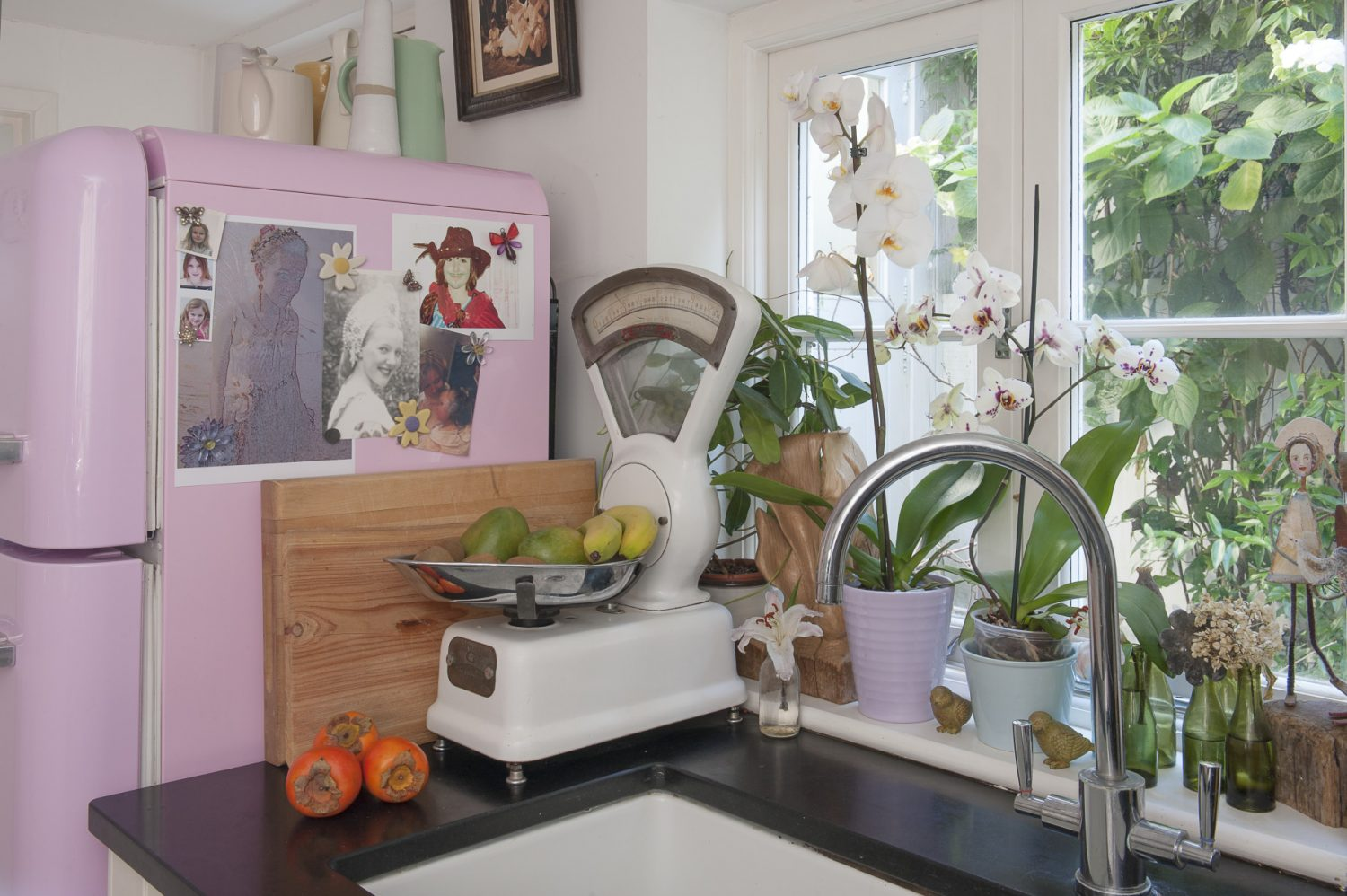 A blancmange pink Smeg fridge is a colourful addition to the kitchen