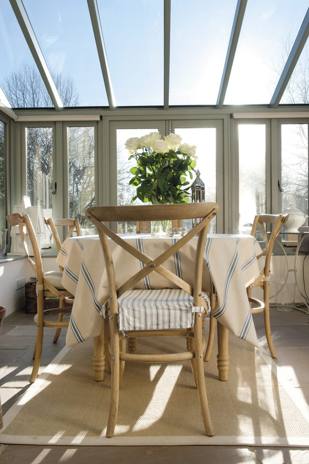 Glorious sunshine pours into the conservatory