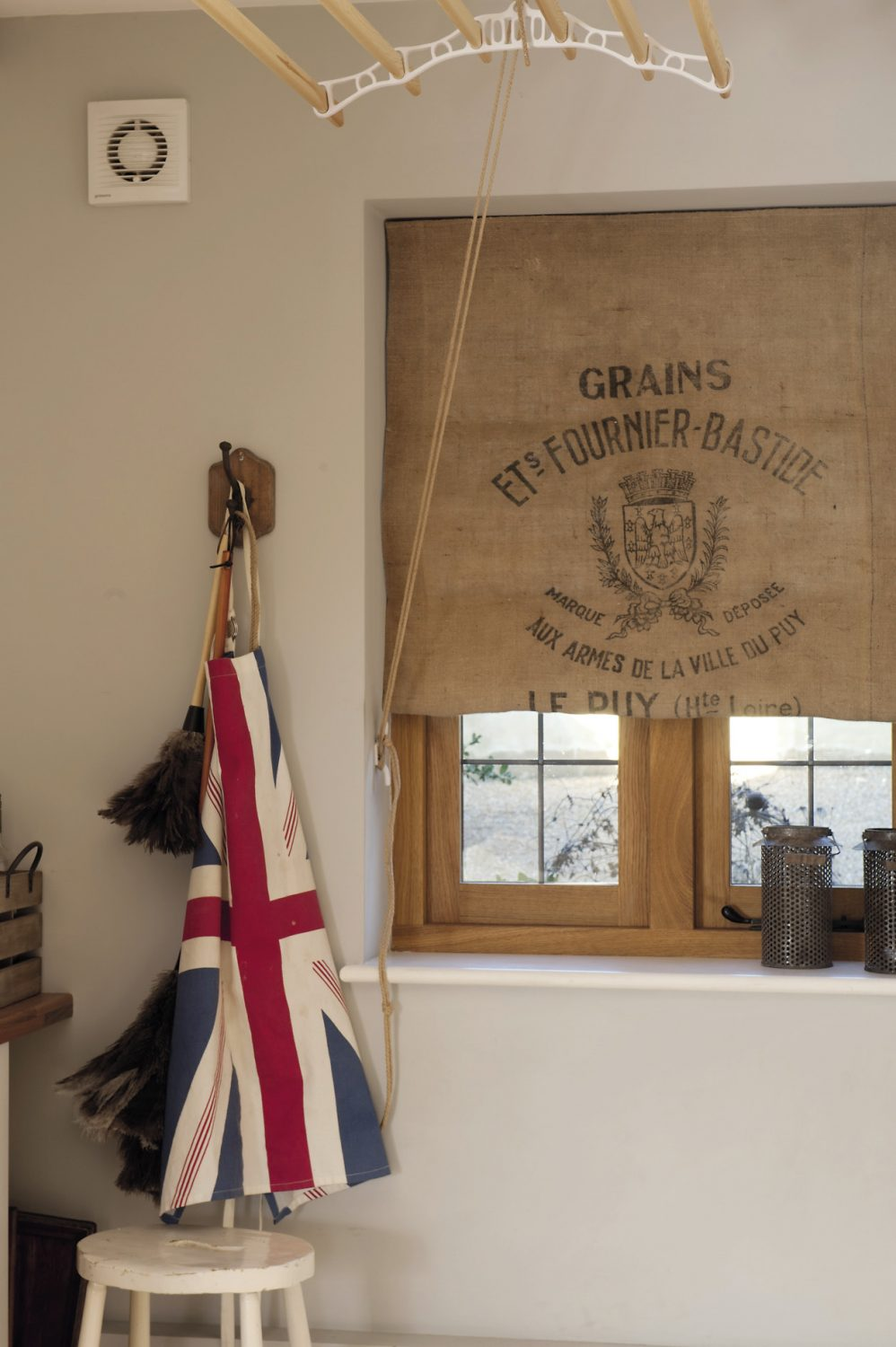 The utility room blind has been made from a 1940s/50s French grain sack