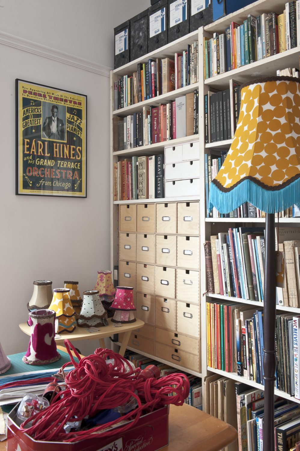 """The lampshades I create are very time-consuming to do. I bind them all with cotton first, make a pattern and then pin and tack them on before I make the complete shade, line it and add the trimmings. It is then stretched over the frame, so it has to fit perfectly."""""""