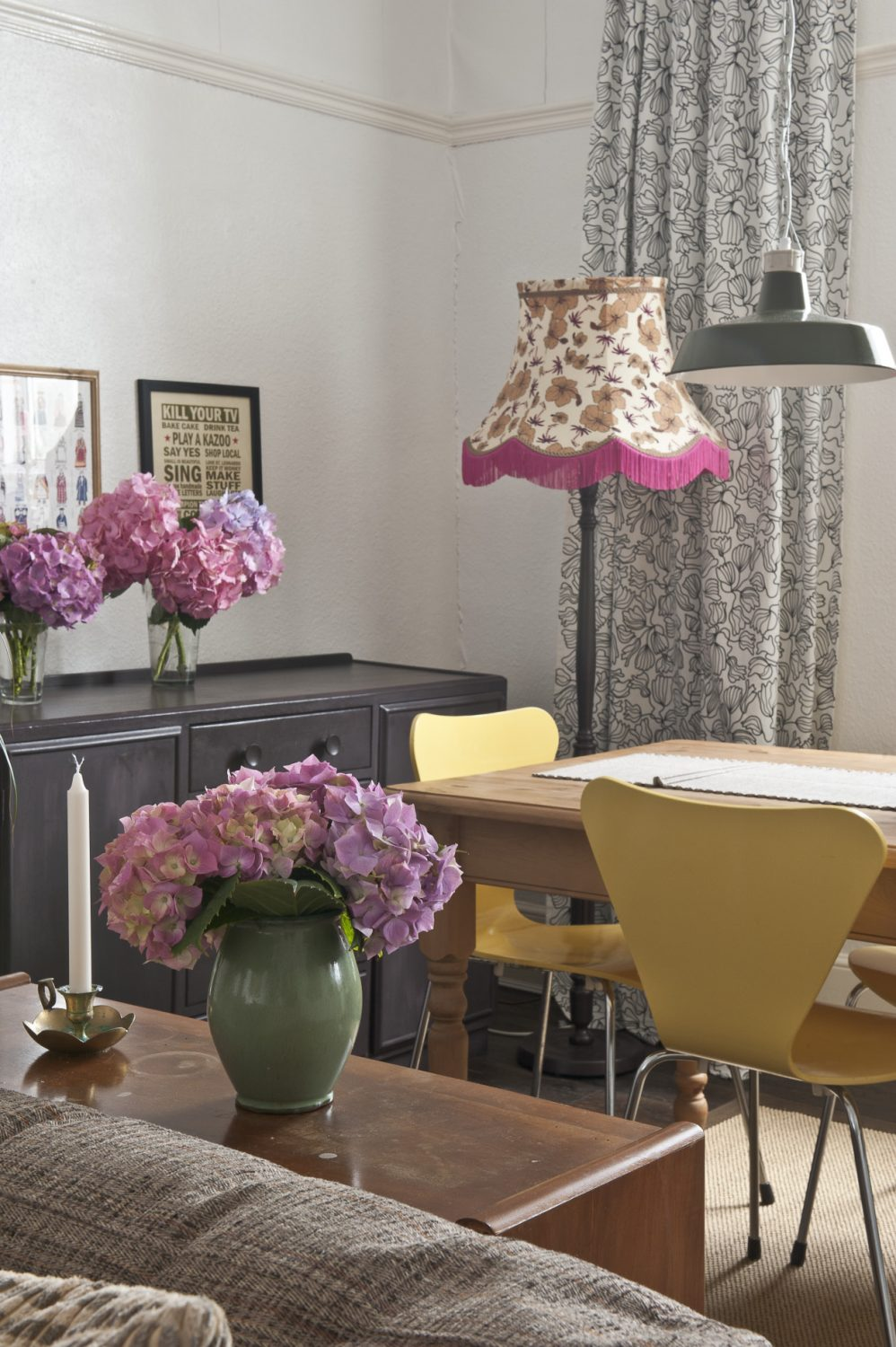 Charlotte's standard lamps add a vibrant pop of colour