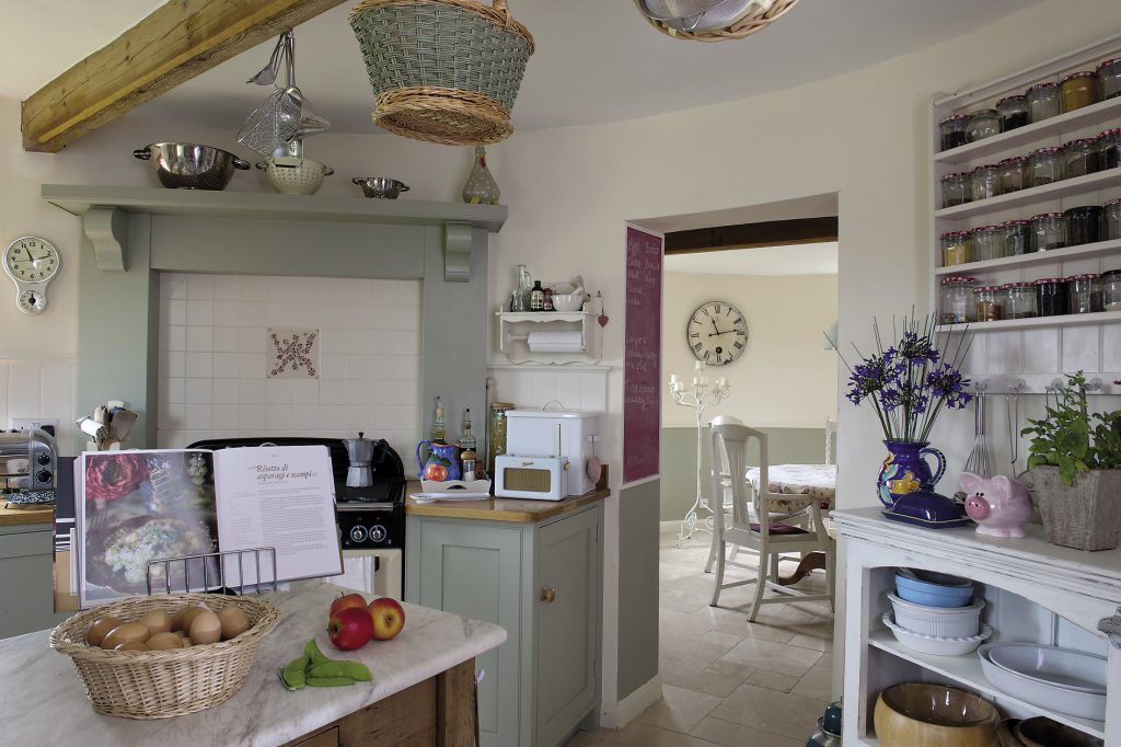 The kitchen required the most planning and the solution of bespoke units, built to order by Dave Newing of Millside Joinery in Lenham, has made the absolute maximum of the circular wall space while creating a room that never for a moment seems cramped or cluttered