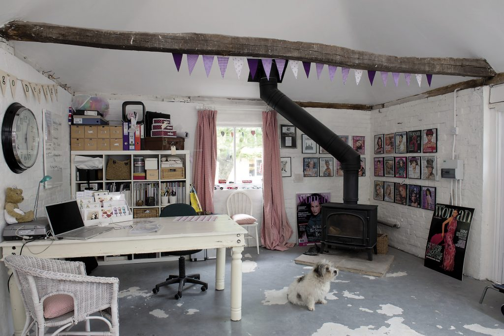 Close to the house is an outbuilding that Katy has converted into a photographic studio from which she runs both her portrait photography and her highly successful photographic card business, Dipingo Design