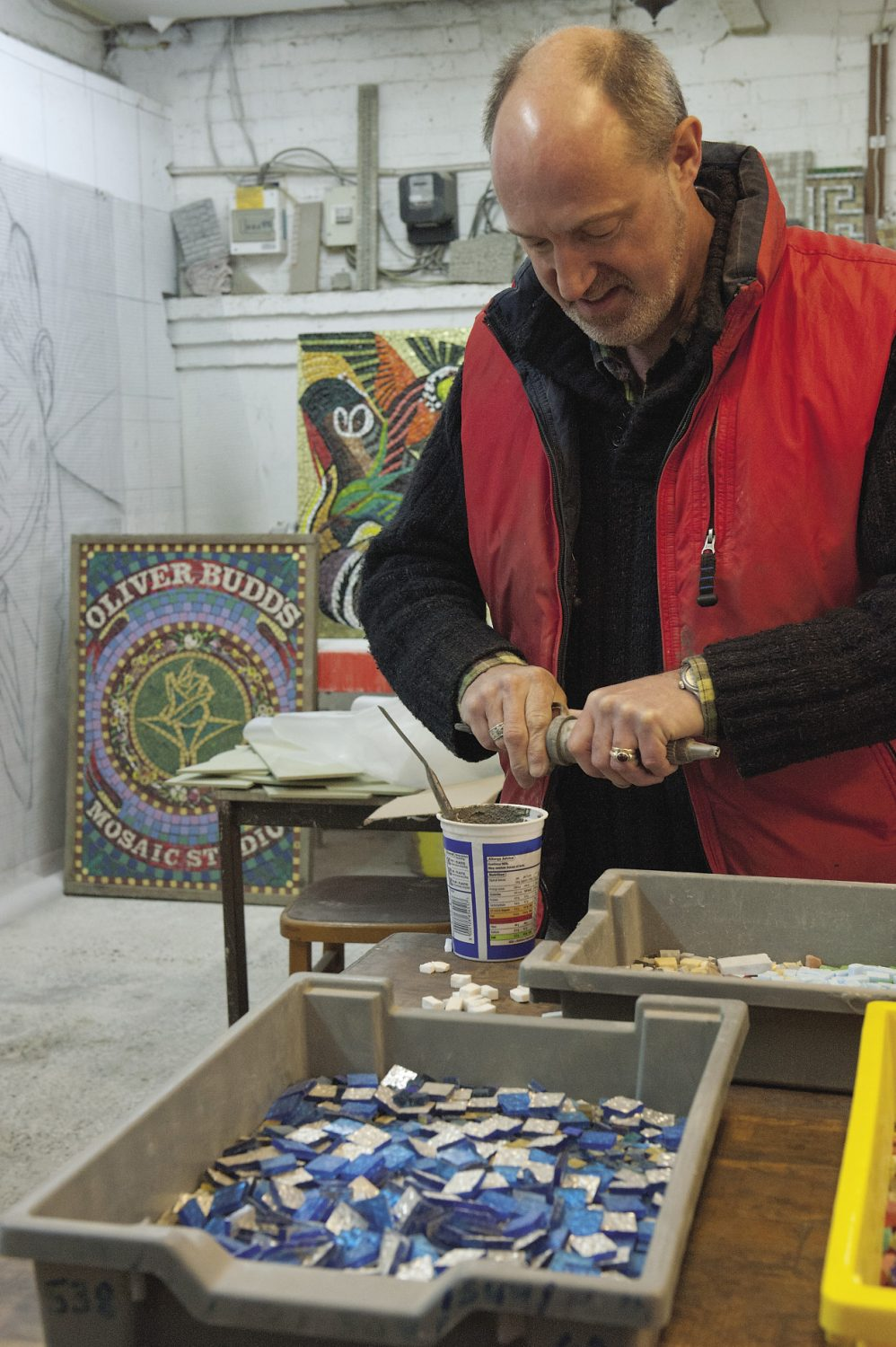 Oliver at work in his Bodiam-based studio. He is currently working on the restoration of the JF Kennedy memorial mosaic that was in Birmingham. Commissioned by the city's Irish Catholic community some time after Kennedy's assassination in '63, is was originally unveiled by his father in 1969
