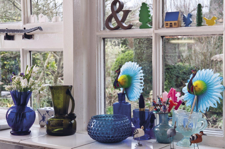A windowsill full of interesting and beautiful finds