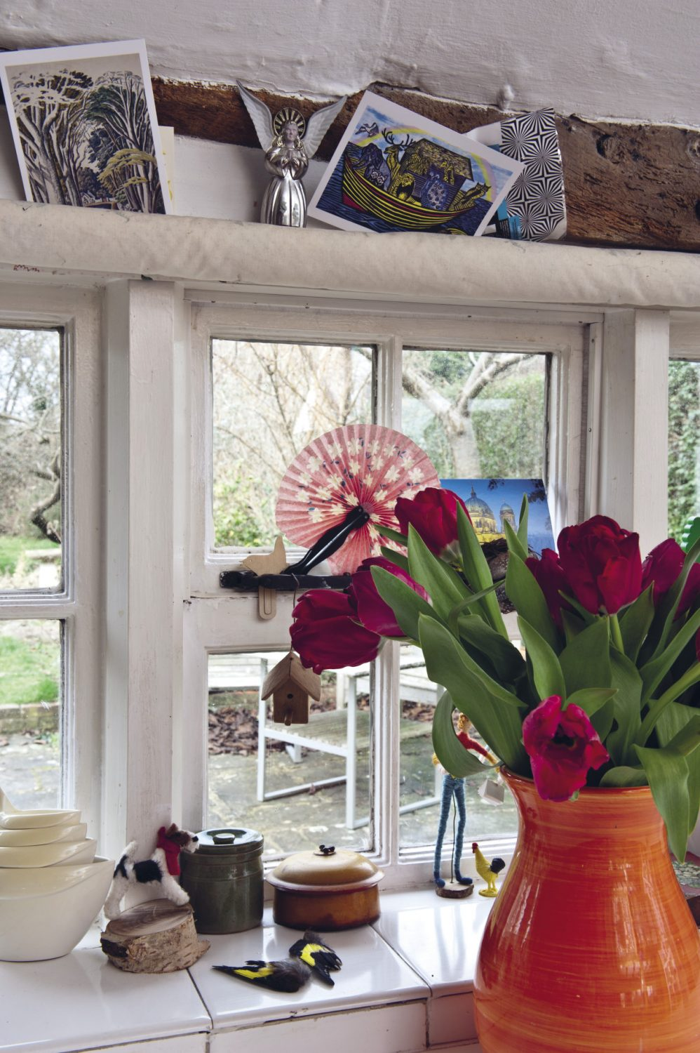 Fresh and dried flowers can be found throughout the house
