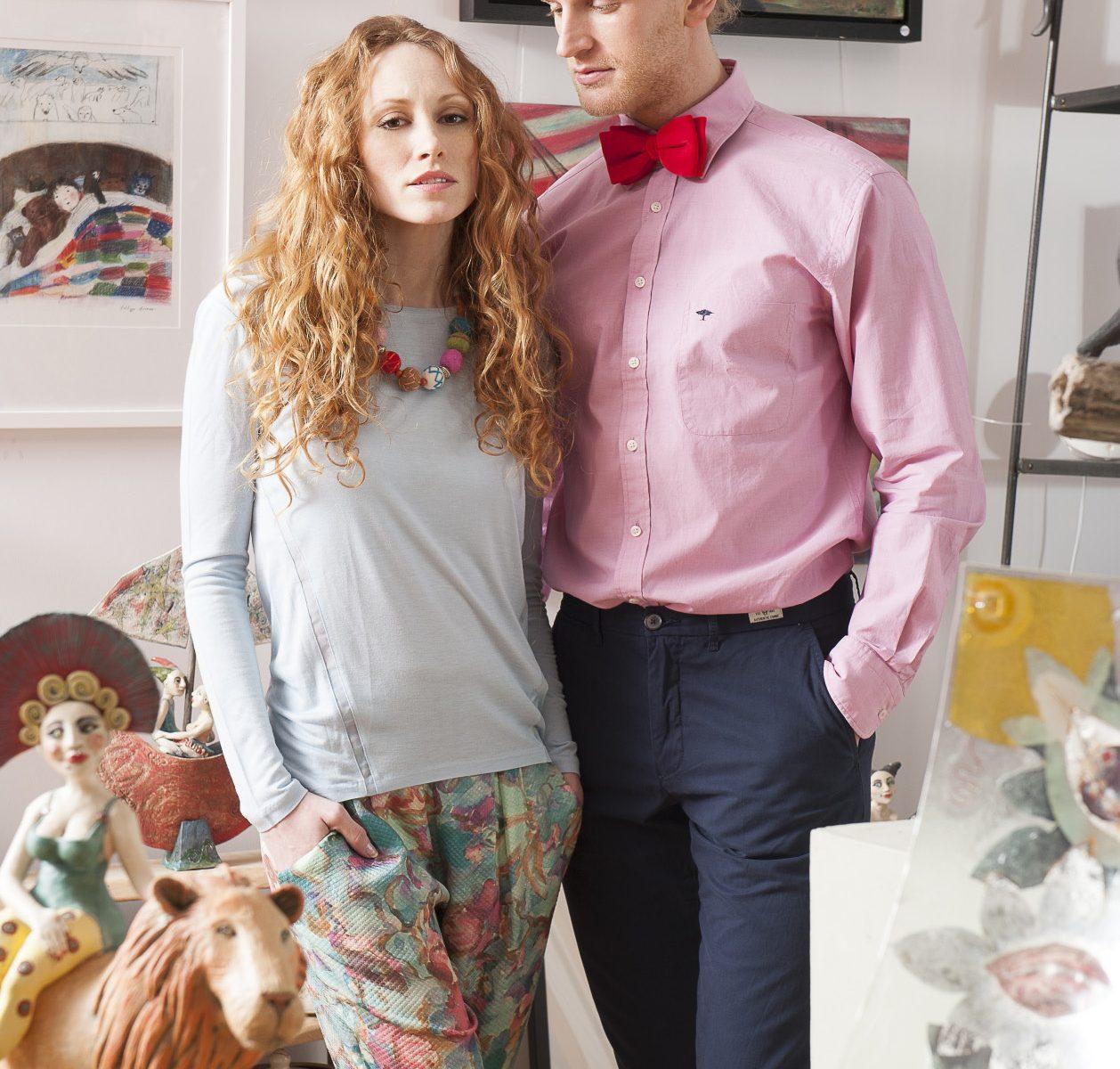 anine: Farhi by Nicole Farhi long sleeved top, £85, Hoss Intropia silk trousers, £159, Figis, Tenterden 01580 762536 www.figisboutique.com; The Laughing Thimble necklace, £22.50, Singing Soul Gallery (details opposite) Dan: Fynch Hatton pink shirt, £65, Hunt & Holditch velvet bow tie, £22.50, County Clothes, Tenterden 01580 765159 / Canterbury 01227 765294 / Reigate 01737 249224 www.countyclothesmenswear.co.uk; Tommy Hilfiger chinos, £85, Fenwick, Tunbridge Wells 01892 516716 www.fenwick.co.uk