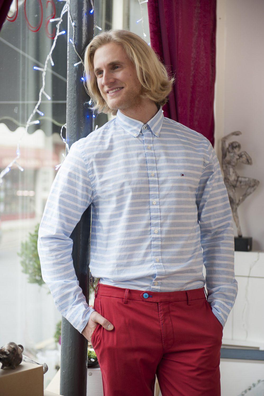 Tommy Hilfiger striped shirt, £75, Fenwick, Tunbridge Wells 01892 516716 www.fenwick.co.uk; MMX red chinos, £149, County Clothes, Tenterden 01580 765159 / Canterbury 01227 765294 / Reigate 01737 249224 www.countyclothesmenswear.co.uk