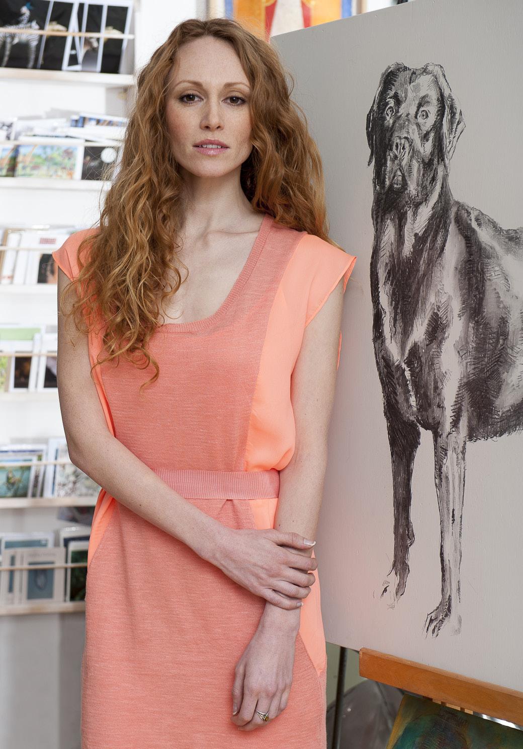 Hoss Intropia panel dress, £145, Figis, Tenterden 01580 762536 www.figisboutique.com; ring, Janine's own. Art: 'Brave' charcoal on board by Geoff Davis, £650, Singing Soul Gallery, Cranbrook 01580 714551 www.marieprett.co.uk