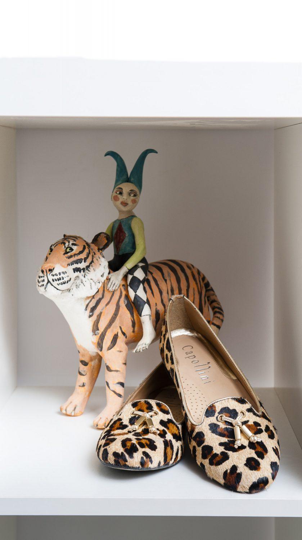 Capollini leopard pumps, £95, Manuka Shoes Westerham 01959 565644 www.manukashoes.com. Art: 'Tiger & Acrobat Boy' ceramic by Marie Prett, £410, Singing Soul Gallery, Cranbrook 01580 714551 www.marieprett.co.uk