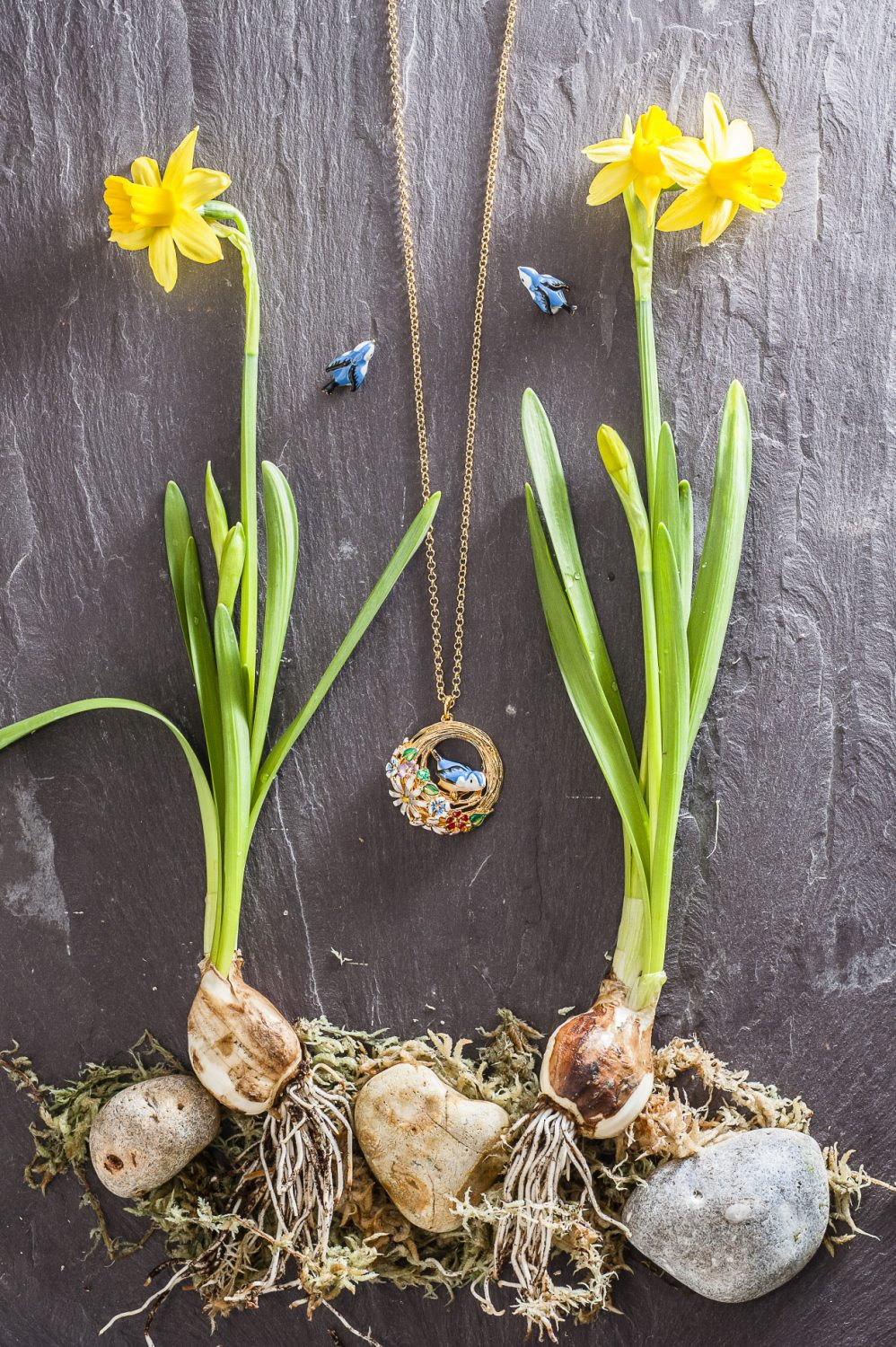 Hedgerow bird nest necklace, £75, Hedgerow bluebird stud earrings, £40, Bill Skinner Studio, Otford 01959 526254 / Tenterden 01580 761610 www.billskinnerstudio.co.uk