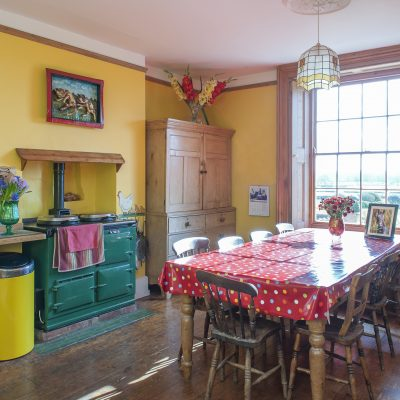 The vibrant yellow of the kitchen walls, radiators and SMEG fridge is broken up with accents of forest green and rich red