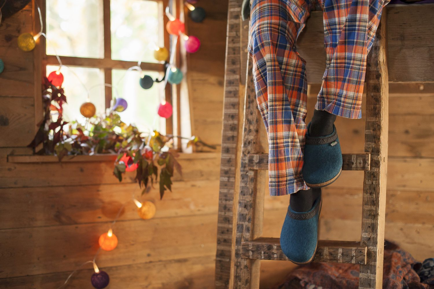 Stegman house clogs, £65, Fire & Felt fireandfelt.com; Wilde lounge pants, £37, Blueblancmange blueblancmange.co.uk