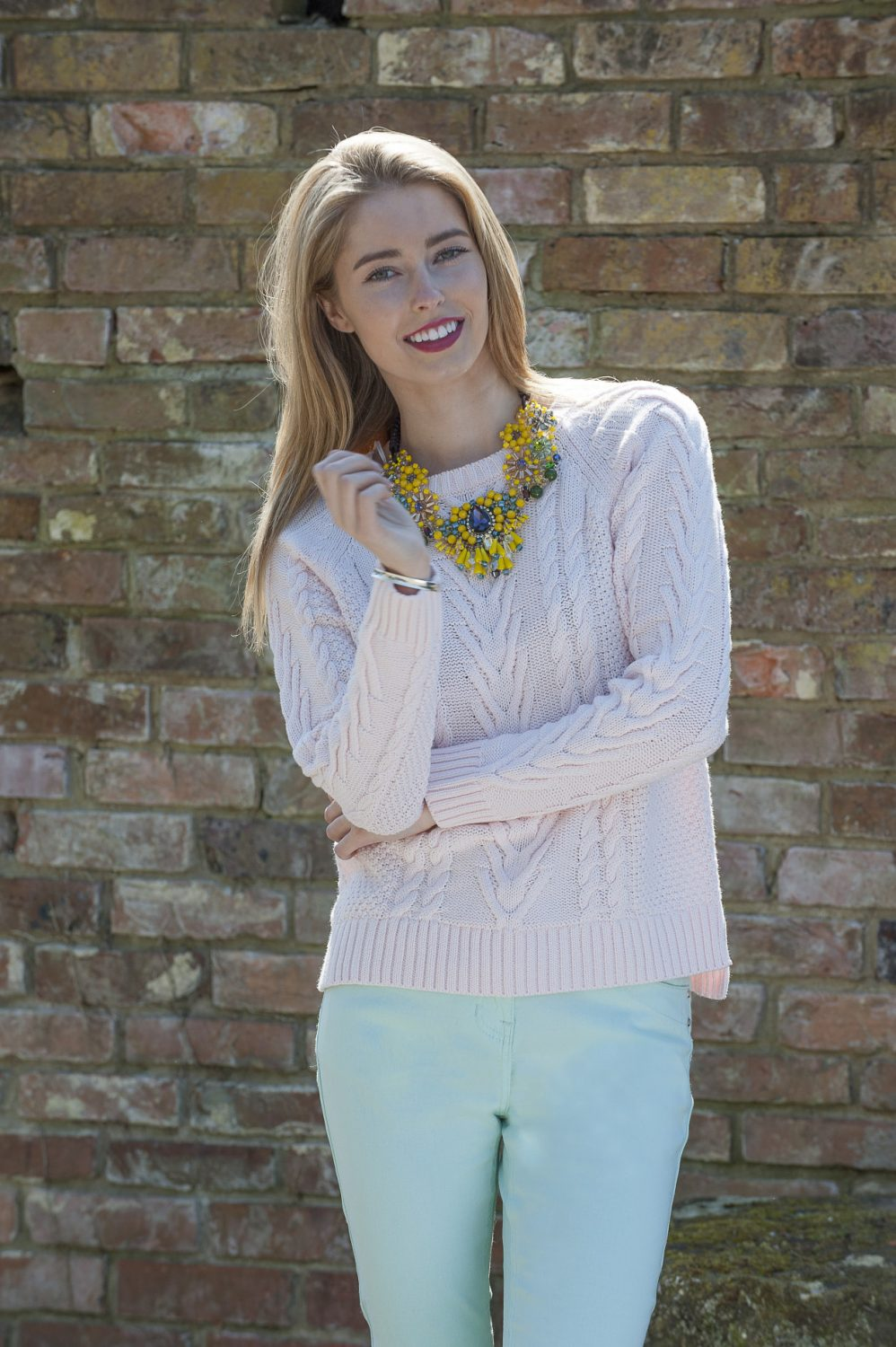 Second Female cable knit jumper, £72, Butterfly necklace, £120, Odyl, Cranbrook 01580 714907 www.odyl.co.uk; Intown Jeans, £58, Darcey, Heathfield & Lewes 0800 111 4974 www.darcey.co.uk; bracelet, Amy's own