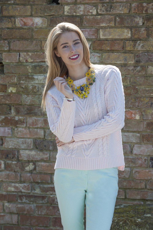 Second Female cable knit jumper, £72, Butterfly necklace, £120, Odyl, Cranbrook 01580 714907 www.odyl.co.uk; Intown Jeans, £58, Darcey, Heathfield & Lewes 0800 111 4974 www.darcey.co.uk; bracelet, Amy's own