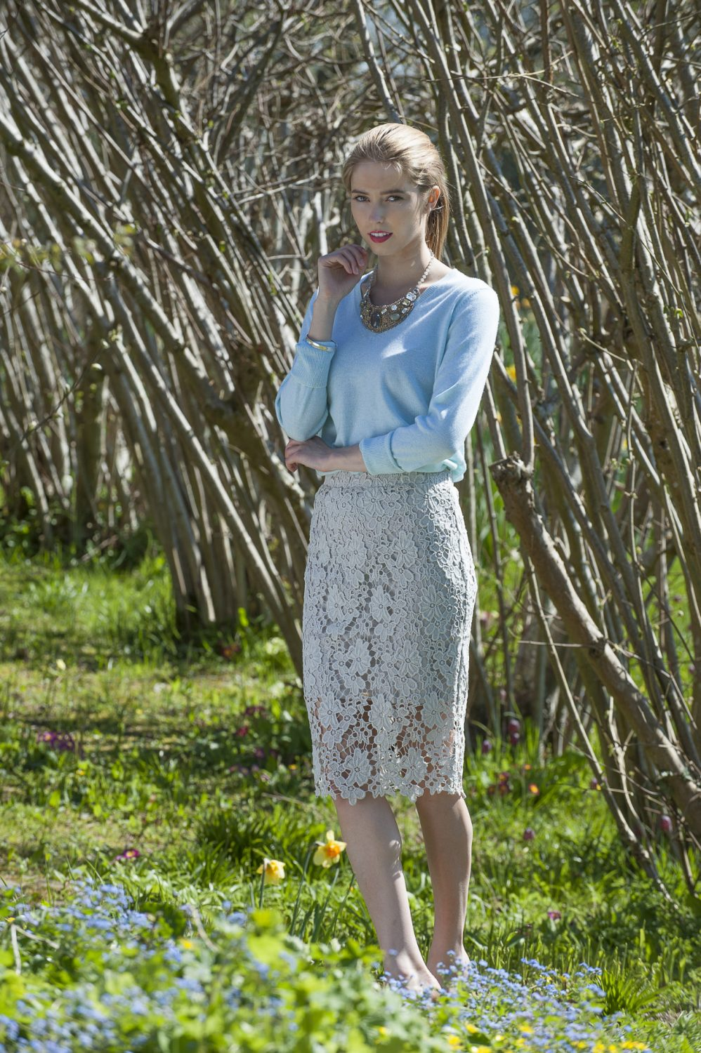 Second Female lace skirt, £84, Butterfly necklace, £92, Odyl, Cranbrook 01580 714907 www.odyl.co.uk; Cocoa Cashmere jumper, £157, Darcey, Heathfield & Lewes 0800 111 4974 www.darcey.co.uk