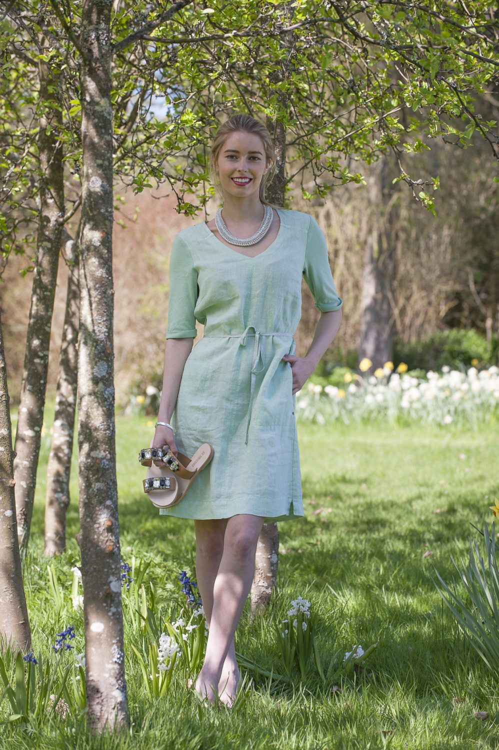Sandwich linen dress, £92, Darcey, Heathfield & Lewes 0800 111 4974 www.darcey.co.uk; Sol Sana jewelled sandals, £64.99, Second Female necklace, £45, Odyl, Cranbrook 01580 714907 www.odyl.co.uk; bracelet, Amy's own
