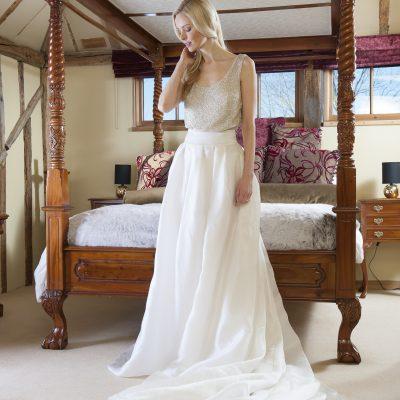 Elizabeth Stuart beaded body, Elizabeth Stuart 'Annabelle' organza skirt, £2,800 as a set, Froufrou Bridal Boutique, Tunbridge Wells 01892 541381 www.froufroubride.co.uk
