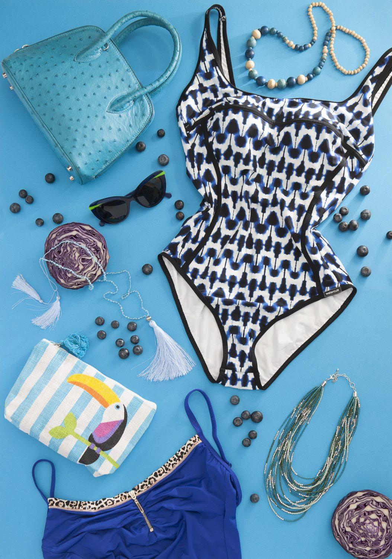 Hepburn handbag, £775, Ostrich 2 Love www.wealdenfairs.com/ostrich2love / www.ostrich2love.co.uk; print swimsuit, £91, blue swimsuit with animal trim, £80, Lovell & Vie, Sevenoaks 01732 454445 www.lovellandvie.co.uk; large blue bead necklace, £8, tassel necklace, £18, small blue bead necklace, £20, make-up bag, £6.99, Spice, Cranbrook 01580 714156 www.spicecranbrook.co.uk; Face a Face blue glasses, £225, Linda Pope Opticians, Hawkhurst 01580 753744 www.lindapopeoptician.co.uk