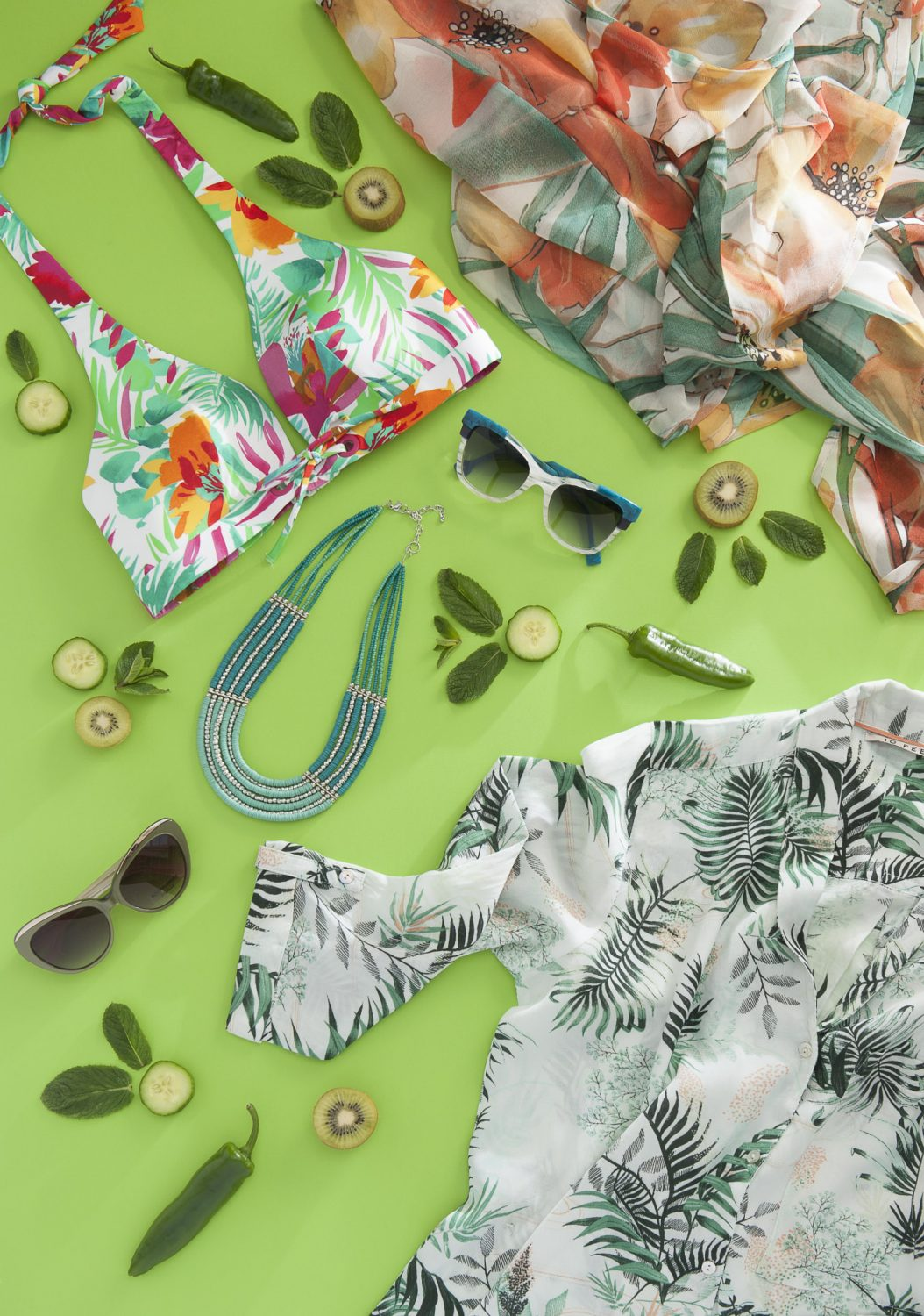 Huit bikini, £45, Lovell & Vie, Sevenoaks 01732 454445 www.lovellandvie.co.uk; Vacanze Italiane poncho, £49, Siren & Pearl, Rye 01797 224116 www.sirenandpearl.co.uk; turquoise bead necklace, £20, Spice, Cranbrook 01580 714156 www.spicecranbrook.co.uk; 10feet print blouse, £87, Odyl, Cranbrook 01580 714907 www.odyldesign.com; Res Rei glasses £225, Booth & Bruce glasses, £150, Linda Pope Opticians, Hawkhurst 01580 753744 www.lindapopeoptician.co.uk