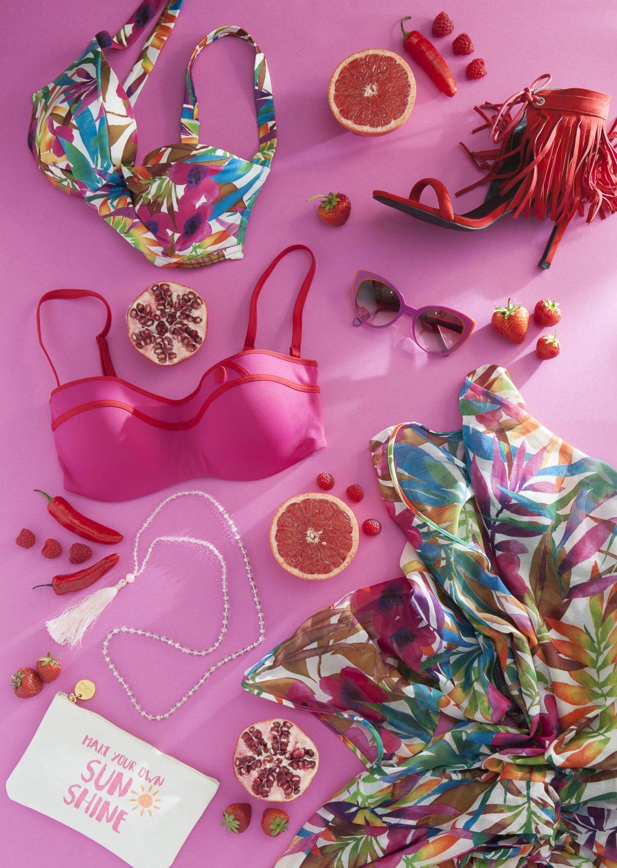 Huit pink bikini, £76, Lovell & Vie, Sevenoaks 01732 454445 www.lovellandvie.co.uk; Aubade jungle bikini, £140, jungle kaftan, £103, Siren & Pearl, Rye 01797 224116 www.sirenandpearl.co.uk; red tassel heels, £105, Odyl, Cranbrook 01580 714907 www.odyldesign.com; pink tassel necklace, £19.50, Kiki & Bow www.kikiandbow.co.uk / www.wealdenfairs.com/kikiandbow; make your own sunshine purse, £6.25, Spice, Cranbrook 01580 714156 www.spicecranbrook.co.uk; Face a Face pink glasses, £202, Linda Pope Opticians, Hawkhurst 01580 753744 www.lindapopeoptician.co.uk